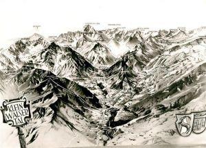 AK / Ansichtskarte Kleinwalsertal Panoramakarte Alpen aus der Vogelperspektive Kleinwalsertal