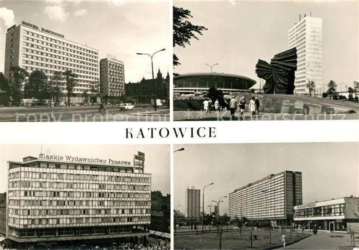 AK / Ansichtskarte Katowice Hotel Katowice Pomnik Powstancow Slaskich Dom Prasy Superjednostka Katowice