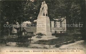 AK / Ansichtskarte Rion des Landes Monument des Morts pour la Patrie Rion des Landes