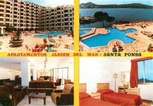 AK / Ansichtskarte Santa_Ponsa_Mallorca_Islas_Baleares Apartamentos Jardin del Mar Swimming Pool Meerblick Santa_Ponsa