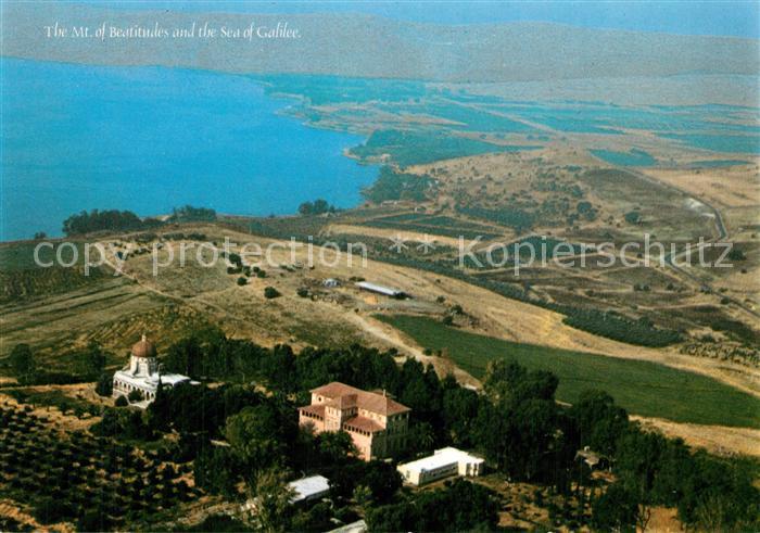 AK / Ansichtskarte Galilee Mount of Beatitudes Sea of Galilee Berg der Seeligkeit See Genezareth Fliegeraufnahme Galilee