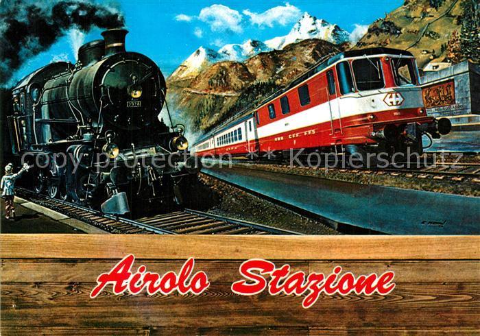 AK / Ansichtskarte Airolo Stazione Dampflok Diesellok Airolo