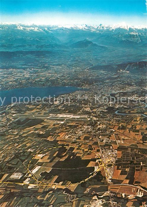 AK / Ansichtskarte Genf_GE Aerial view of the CERN site Genf_GE