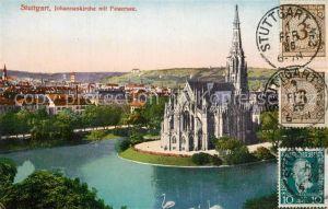 AK / Ansichtskarte Stuttgart Johanneskirche mit Feuersee Stuttgart