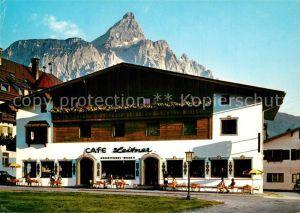 AK / Ansichtskarte Ehrwald_Tirol Cafe Leitner Kirchplatz Ehrwald Tirol