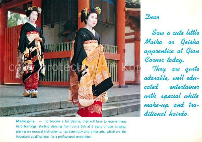 AK / Ansichtskarte Geisha Maiko Girls Higashiyama ku Kyoto Japan Geisha