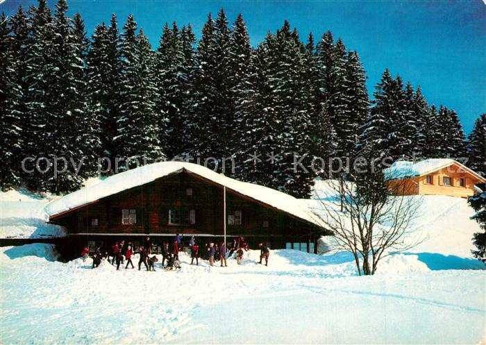 AK / Ansichtskarte Braunwald_GL Berghaus Hahnenbuehl Berghaus Wettstein Winter Braunwald GL