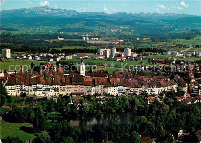 AK / Ansichtskarte Wil_SG Fliegeraufnahme Altstadt Saentis Churfirsten Wil_SG