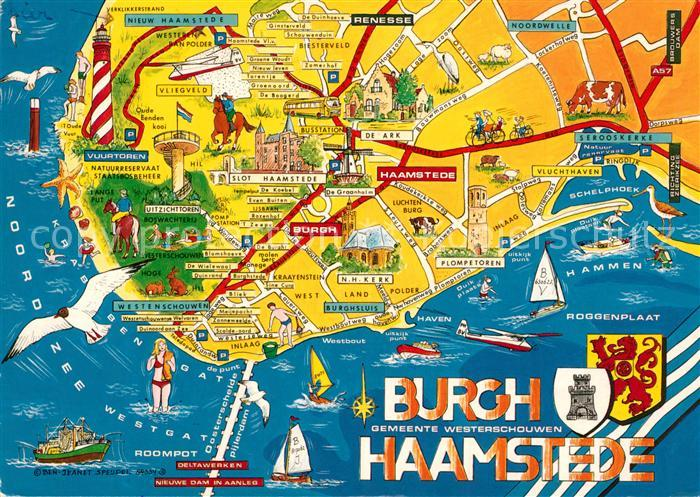 AK / Ansichtskarte Burgh_Haamstede Kueste Landkarte mit Sehenswuerdigkeiten Wappen Burgh_Haamstede