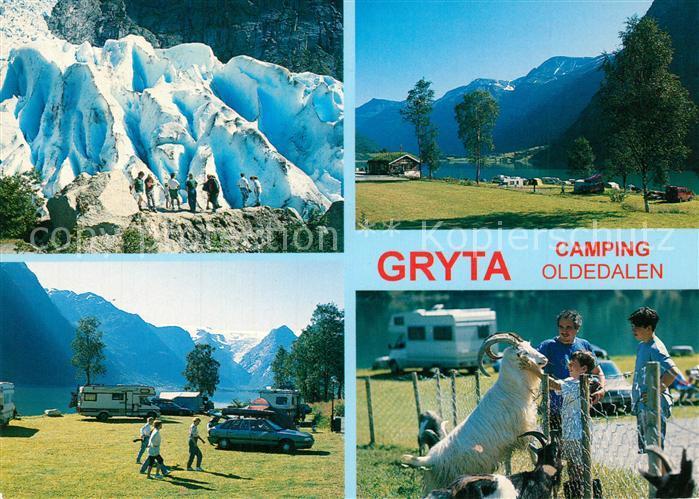 AK / Ansichtskarte Olden_Nordfjord Gryta Camping  Landschaftspanorama Berge Gletscher Olden Nordfjord