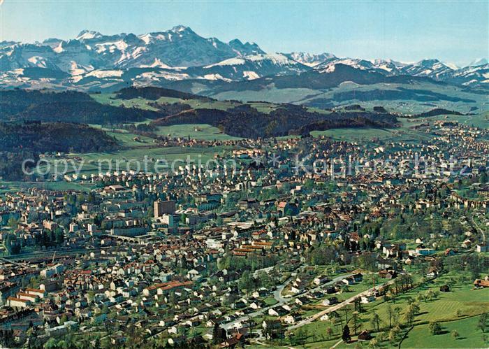 AK / Ansichtskarte St_Gallen_SG Panorama Blick zum Saentis Appenzeller Alpen Fliegeraufnahme St_Gallen_SG