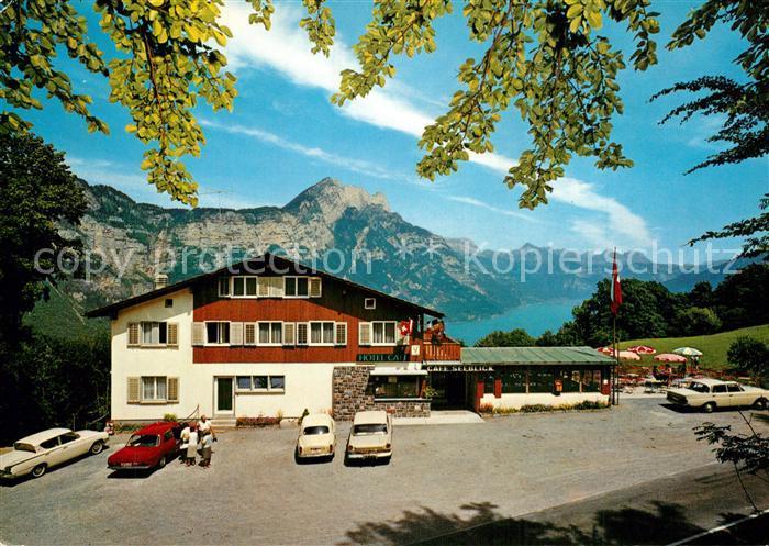 AK / Ansichtskarte Filzbach Hotel Garni Cafe Seeblick Walensee Hoehenstrasse Alpenpanorama Filzbach