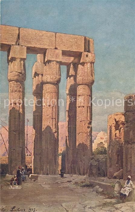AK / Ansichtskarte Luxor_Louqsor_Louksor Tempel des Amenophis 3. K?nstlerkarte