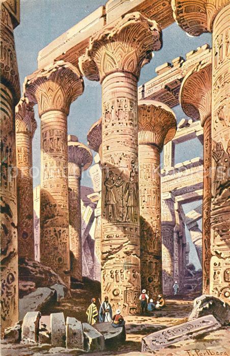 AK / Ansichtskarte Karnak_Egypt Tempel K?nstlerkarte Karnak Egypt