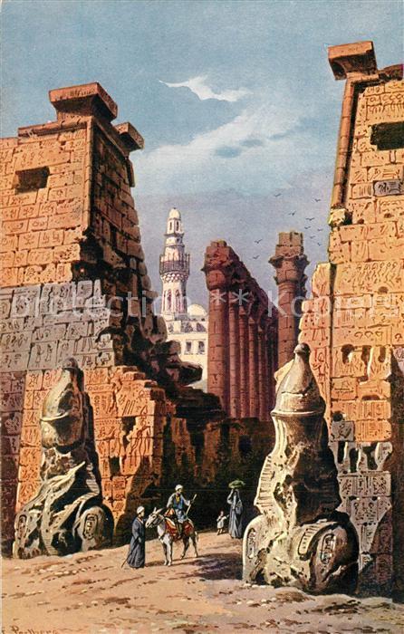 AK / Ansichtskarte Luxor_Louqsor_Louksor Tempel K?nstlerkarte