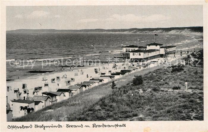 AK / Ansichtskarte Stolpmuende_Ostseebad_Pommern Strand mit Badeanstalt Stolpmuende_Ostseebad