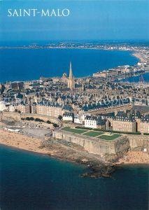 AK / Ansichtskarte Saint Malo_Ille et Vilaine_Bretagne La cite des corsaires dominee par la felche de la cathedrale Vue aerienne Saint Malo_Ille et Vilaine