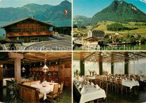 AK / Ansichtskarte Beckenried Sternen Hotel Gastraeume Autofaehre Beckenried