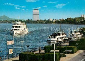 AK / Ansichtskarte Motorschiffe Bonn Rheinufer B?rohochhaus Bundestag
