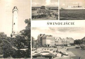 AK / Ansichtskarte Swinoujscie_Swinemuende Latarnia morska Plac Wolnosci Muszla koncertowa Prom Gryf Leuchtturm Konzertpavillon Faehre Swinoujscie Swinemuende