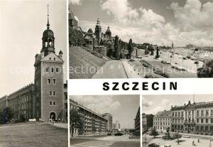 AK / Ansichtskarte Szczecin_Stettin Glockenturm Waly Chrobrego Promenade Oder Hafen Strasse Orla Balego Platz Szczecin_Stettin