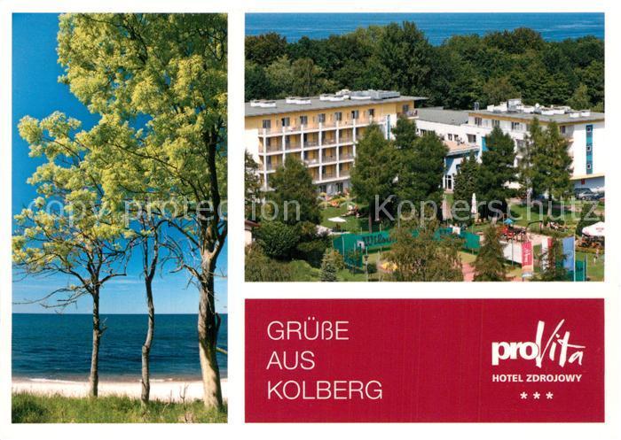 AK / Ansichtskarte Kolberg_Ostseebad_Kolobrzeg Hotel Zdrojowy Pro Vita Strand Tennisplatz Kolberg_Ostseebad