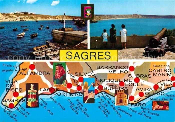 AK / Ansichtskarte Sagres_Algarve Kanone Strand Lageplan Sagres Algarve