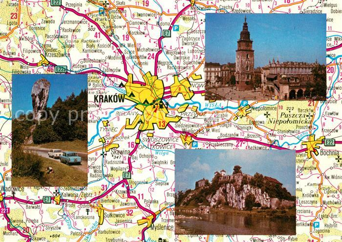 AK / Ansichtskarte Krakow_Krakau und Umgebung Strassenkarte Krakow Krakau
