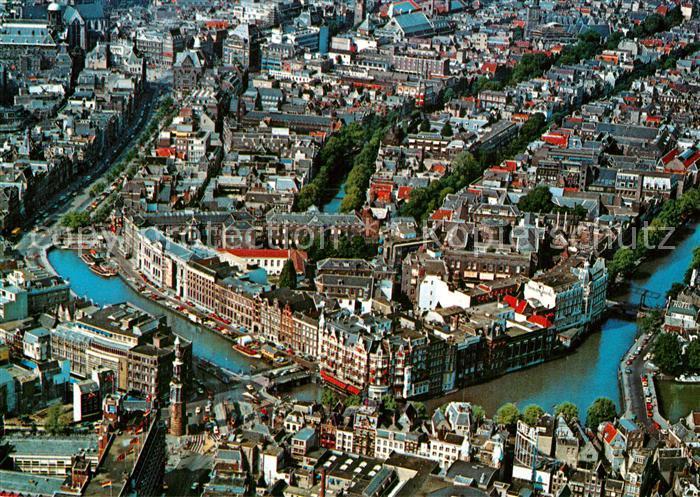 AK / Ansichtskarte Amsterdam_Niederlande Centrum met Rokin luchtopname Amsterdam_Niederlande