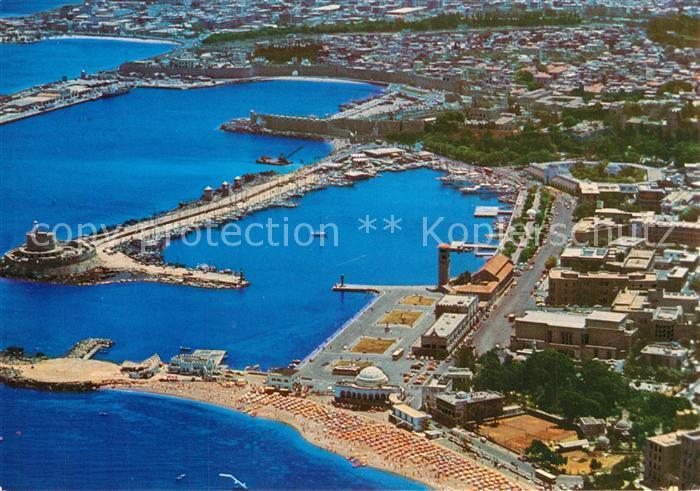 AK / Ansichtskarte Rhodos_Rhodes_aegaeis Hafen Fliegeraufnahme Rhodos_Rhodes_aegaeis