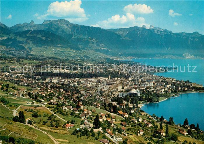 AK / Ansichtskarte La_Tour de Peilz Dent de Jaman Rochers de Naye et Tours d'Ai Fliegeraufnahme La_Tour de Peilz