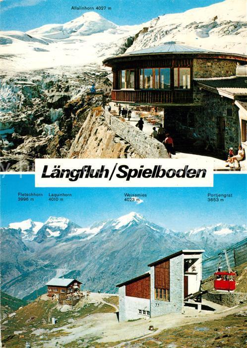 AK / Ansichtskarte Saas Fee Laengfluh Spielboden Allalinhorn Seilbahnstation Saas Fee