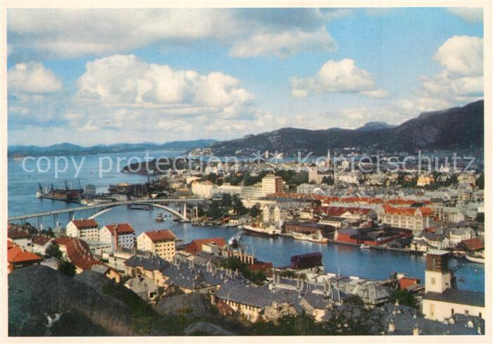 AK / Ansichtskarte Bergen_Norwegen View with Puddefjord bridge Bergen Norwegen