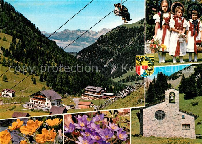 AK / Ansichtskarte Malbun Panorama Sessellift Kapelle Trachten Alpenflora Malbun