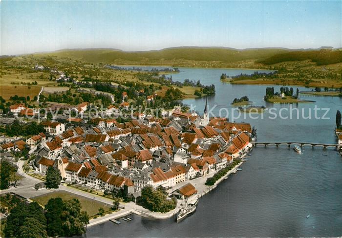 AK / Ansichtskarte Stein_Rhein Fliegeraufnahme mit Insel Werd und Untersee Stein Rhein