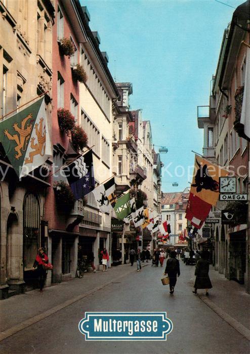 AK / Ansichtskarte St_Gallen_SG Multergasse Einkaufstrasse St_Gallen_SG