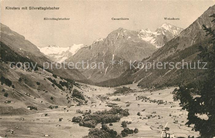 AK / Ansichtskarte Klosters_GR Silvrettagletscher Canardhorn Weisshorn Klosters_GR