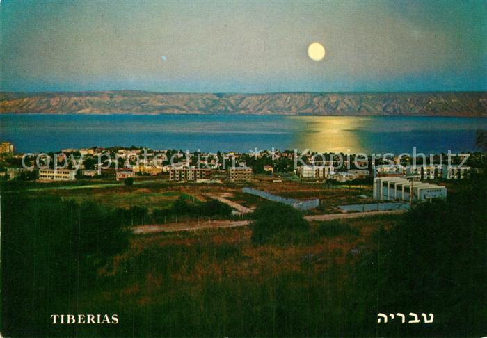 AK / Ansichtskarte Tiberias Panorama Lake of Galilee Golan Mountains at moon light Tiberias