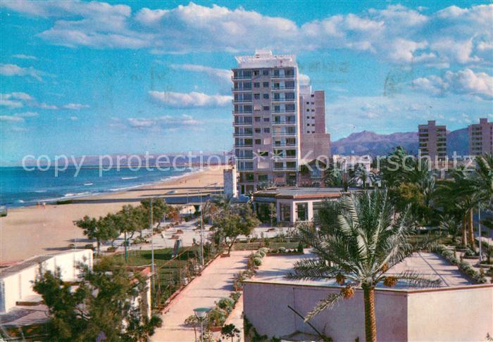 AK / Ansichtskarte Cullera_Valenciana Plaza Victoria y Playa San Antonio Hotel Cullera_Valenciana