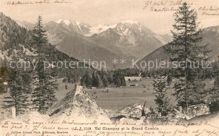 AK / Ansichtskarte Champex Lac Panorama Val Champex et le Grand Combin Champex Lac