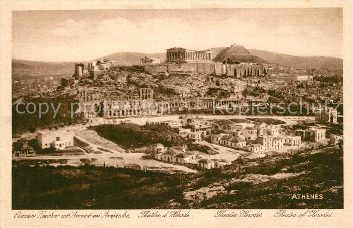 Athenes_Athen Stadtpanorama Akropolis Amphitheater Herodes Antike Staetten Athenes Athen