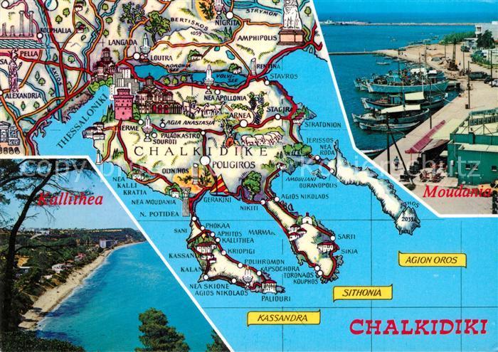 Chalkidiki Strand Inselkarte Moudania Chalkidiki