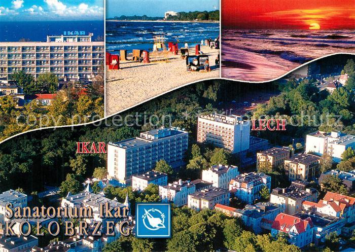 AK / Ansichtskarte Kolobrzeg_Polen a a  Sanatorium Ikar Strand Lech Fliegeraufnahme Kolobrzeg_Polen