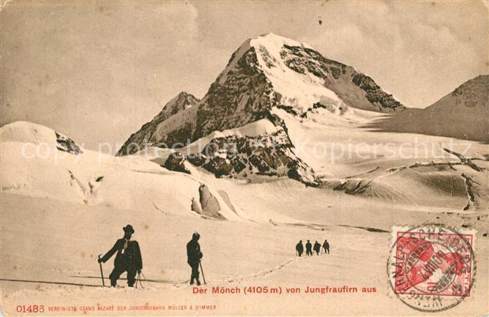 AK / Ansichtskarte Wengen_BE Moench Blick vom Jungfraufirn Wengen_BE