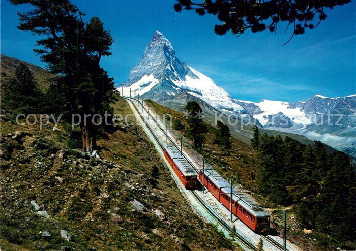 AK / Ansichtskarte Gornergratbahn Riffelalp Zermatt Matterhorn Mont Cervin  Gornergratbahn