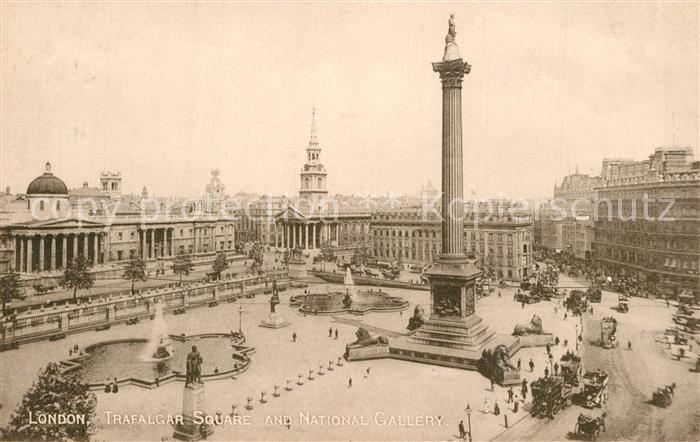 AK / Ansichtskarte London Trafalgar Square and National Gallery Nelson Column London