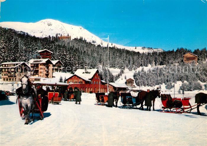 AK / Ansichtskarte Arosa_GR Bahnhof Pferdeschlitten Wintersportplatz Alpen Arosa_GR