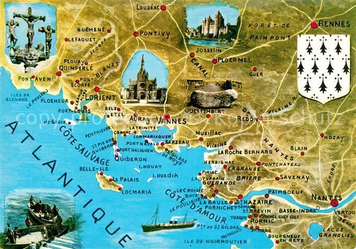 AK / Ansichtskarte Cote_d_Amour_Region Landkarte Cote_d_Amour_Region