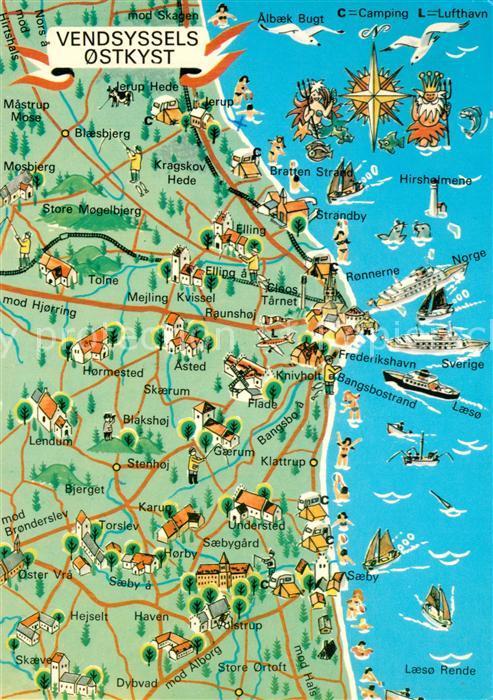 AK / Ansichtskarte Vendsyssel_Danmark Lageplan Vendsyssel Danmark