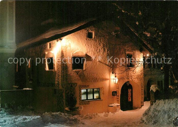 AK / Ansichtskarte Sent Restorante Chasa Veglia Nachtaufnahme Sent